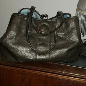Gray Patent Leather Coach